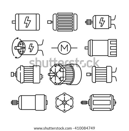 Electric motor vector icons  - stock vector