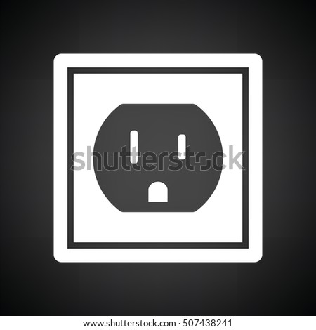 Electric outlet icon. Black background with white. Vector illustration.