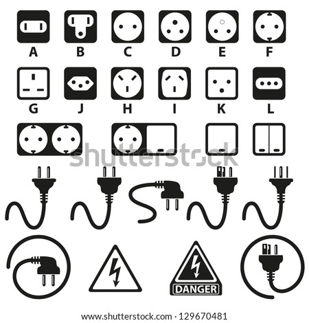 Electric outlet illustration on white background - stock vector