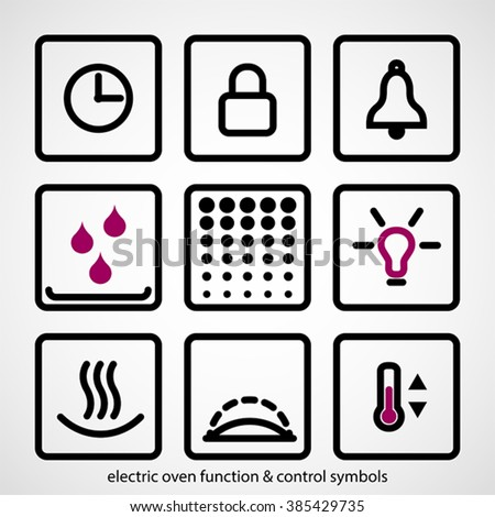 Electric oven function & control symbols. Outline icon collection - household appliances. - stock vector
