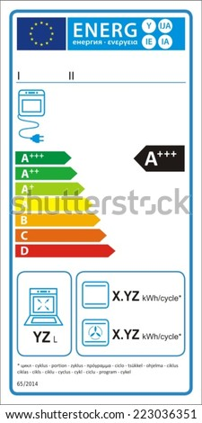 Electric oven new energy rating graph label in vector.