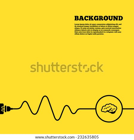 Electric plug background. Brain with cerebellum sign icon. Human intelligent smart mind. Yellow poster with black sign and cord. Vector - stock vector