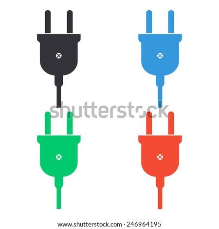 electric plug icon - colored vector illustration - stock vector