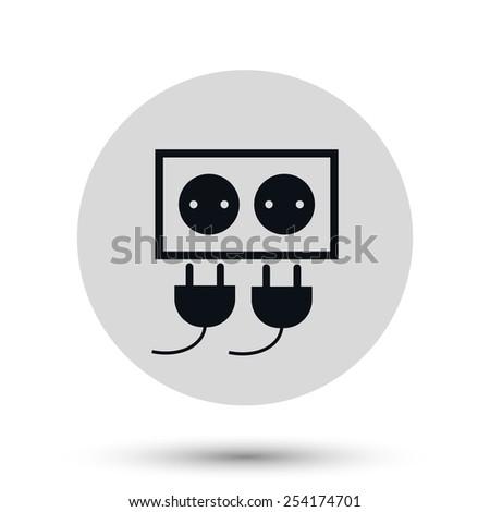 Electric plug icon. Electric plug symbol. Flat Vector illustration - stock vector