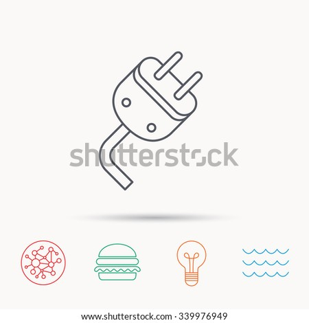 Electric plug icon. Electricity power sign. Cord energy symbol. Global connect network, ocean wave and burger icons. Lightbulb lamp symbol. - stock vector
