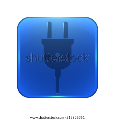 electric plug icon - glossy blue button - stock vector