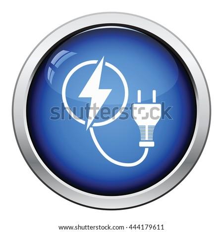 Electric plug icon. Glossy button design. Vector illustration. - stock vector