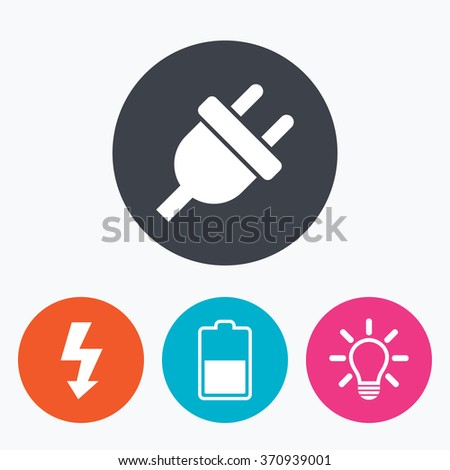 Electric plug icon. Light lamp and battery half symbols. Low electricity and idea signs. Circle flat buttons with icon. - stock vector