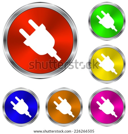 electric plug icon - vector glossy colourful buttons