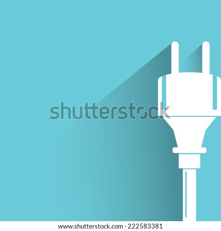 electric plug in blue background, flat and shadow design - stock vector