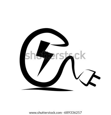 electric plug logo sketch stock vector 689336257