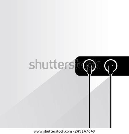 electric plug on white background, flat and shadow theme - stock vector