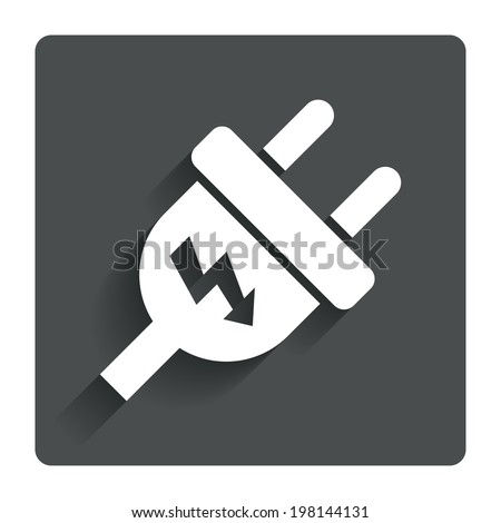 Electric plug sign icon. Power energy symbol. Lightning sign. Gray flat button with shadow. Modern UI website navigation. Vector - stock vector