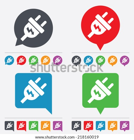 Electric plug sign icon. Power energy symbol. Lightning sign. Speech bubbles information icons. 24 colored buttons. Vector - stock vector