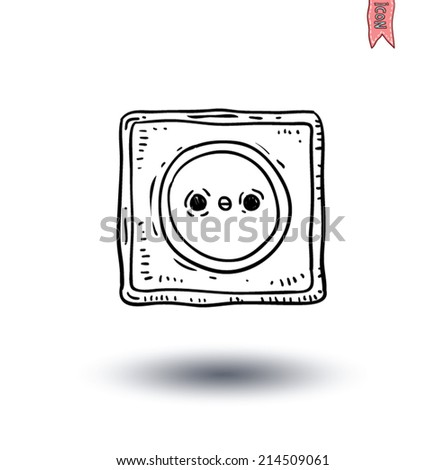Electric plug socket cable icon - vector illustration - stock vector