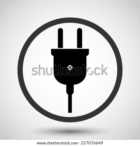 Electric plug vector icon - black illustration