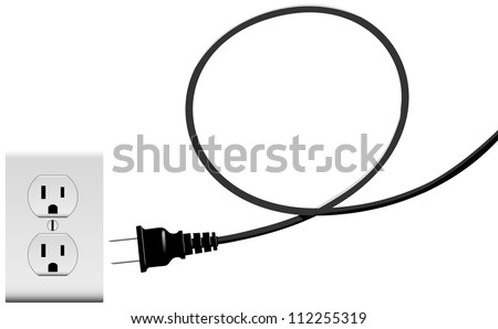 Electric power cord loop forms copyspace plug into outlet - stock vector