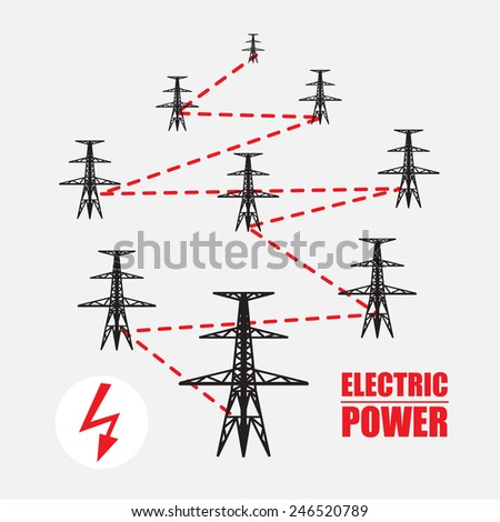 Electric power pole vector infographic illustration design   - stock vector