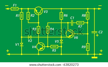 electric scheme of a power supply unit - stock vector