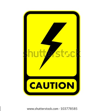 Electric shock caution plate , vector eps10 - stock vector