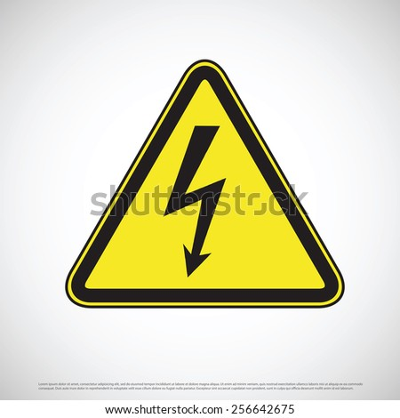 Electric shock hazard warning sign - stock vector