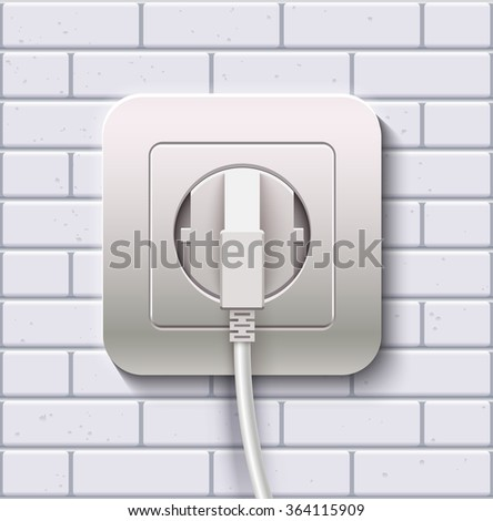 Electric socket and plug on a white brick wall. Realistic vector illustration - stock vector