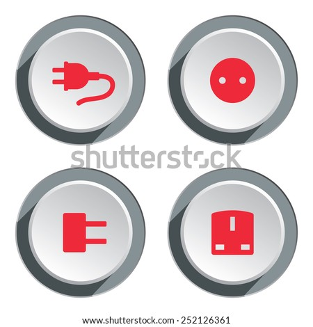 Electric socket base 4 icon set. Power energy symbol. Round red circle flat sign on 3d button with shadow. Vector - stock vector