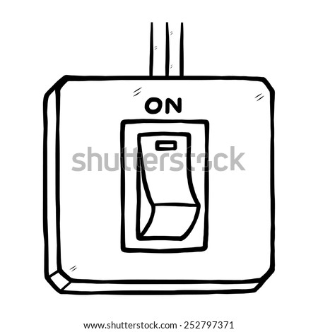 electric switch on / cartoon vector and illustration, black and white, hand drawn, sketch style, isolated on white background. - stock vector