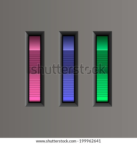 Electric switch On/Off  buttons (pink, blue, green colors). Vector illustration. - stock vector