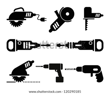 Electric Tools - set of isolated vector icons on white background. - stock vector