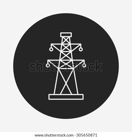 Electric Tower line icon - stock vector