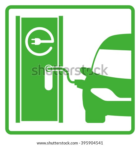 electric vehicle charging station, electric recharging point, simple icon, vector illustration - stock vector