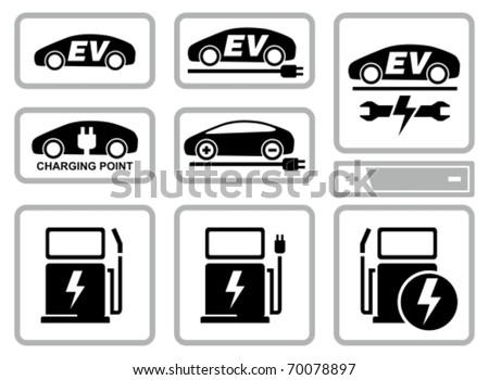 Electric vehicle charging station icons set. All white areas are cut away from icons and black areas merged. - stock vector