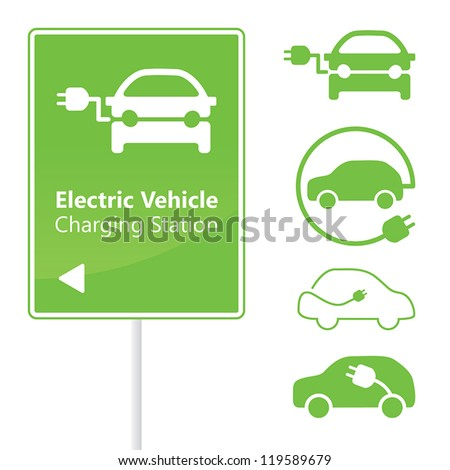 Electric Vehicle Charging Station road sign template with set of icons - stock vector