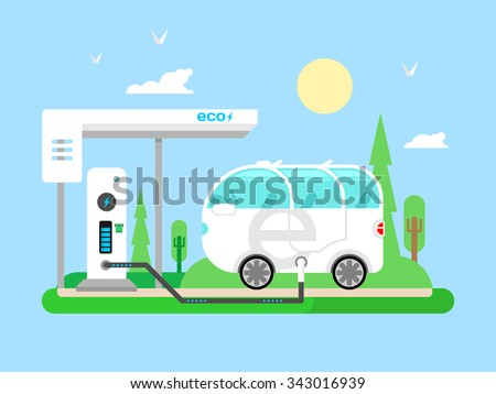 Electric vehicle charging. Transportation electricity, fuel power, vehicle technology, battery and utility, flat vector illustration - stock vector