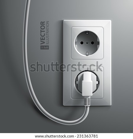 Electric white plug and socket on grey wall background. RGB EPS 10 vector illustration - stock vector