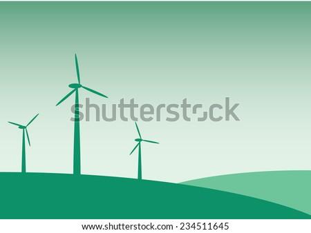 Electric Windmills Landscape  - stock vector