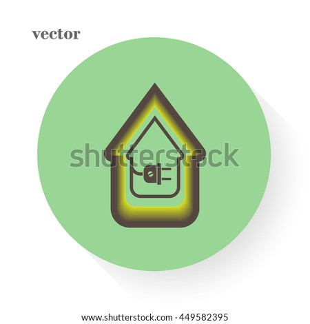 electric wire with plug showing house - stock vector