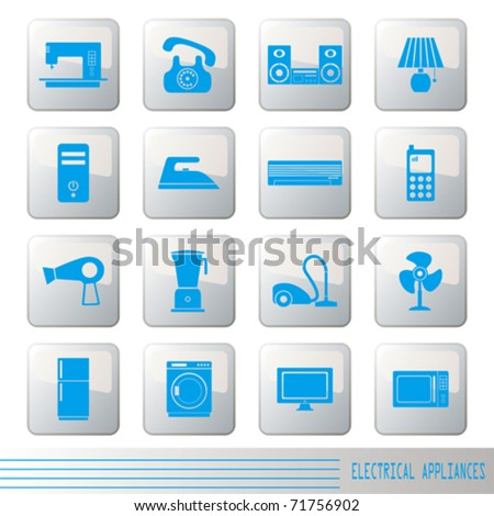 Electrical Appliances Icons Set - stock vector