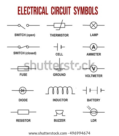 electrical circuit symbols on white background stock vector royalty rh shutterstock com basic electrical wiring symbols pdf basic electrical circuit symbols pdf
