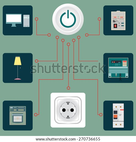Electrical circuit with an image of electric devices in flat-style - stock vector