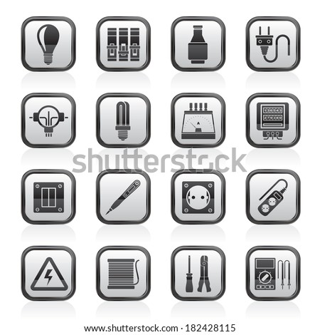 electrical devices equipment icons vector icon stock vector electrical devices and equipment icons vector icon set