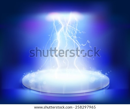 Electrical explosion on the stage. Vector illustration. - stock vector