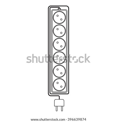electrical extension cord in a modern linear style electric surge protector icon electric extension