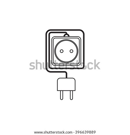 Electrical extension cord in a modern linear style. Electric surge protector icon, electric extension cable icon, electrical plug and electrical outlet. One electrical socket. Schematic image. Vector - stock vector