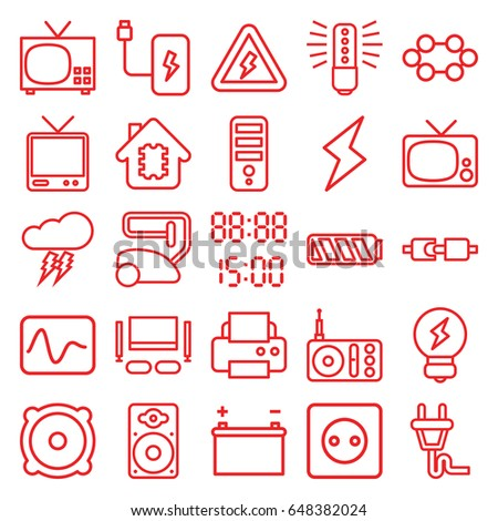 Electrical Icons Set Set 25 Electrical Stock Vector 648382024