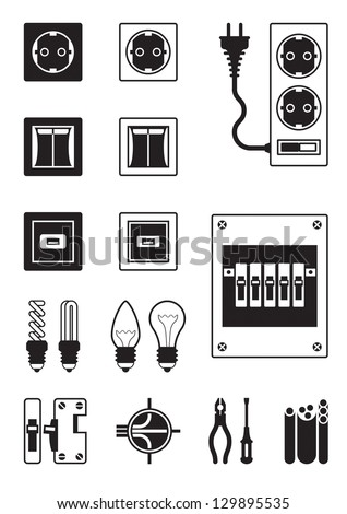 Electrical network devices - vector illustration - stock vector