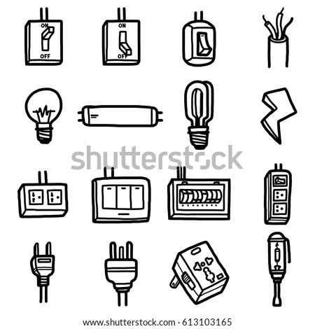 Electrical Objects Icons Set Cartoon Vector And Illustration Hand Drawn Style Black
