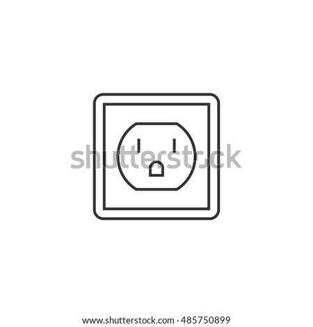 Electrical outlet icon in thin outline style. Electronic connect plug household
