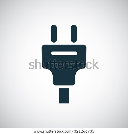 electrical plug icon, on white background - stock vector